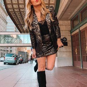 MINKPINK Friday Forever Black Gold Blazer/Skirt